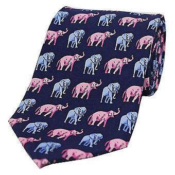 David Van Hagen olifanten land zijden stropdas - Navy