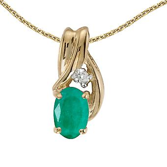 10k Yellow Gold Oval Emerald And Diamond Pendant with 16