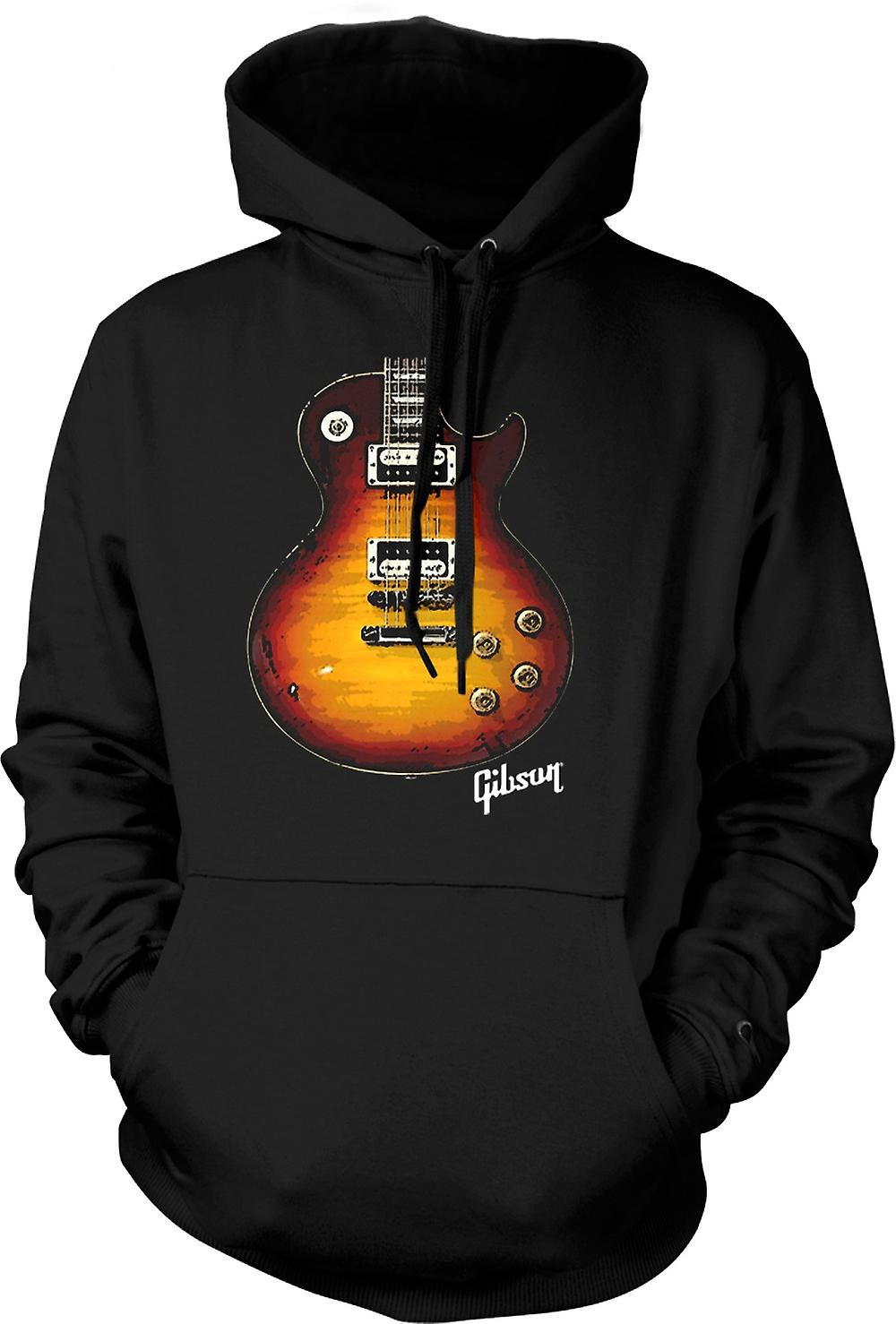 Mens Hoodie - Gibson Les Paul Guitar Gold - Music