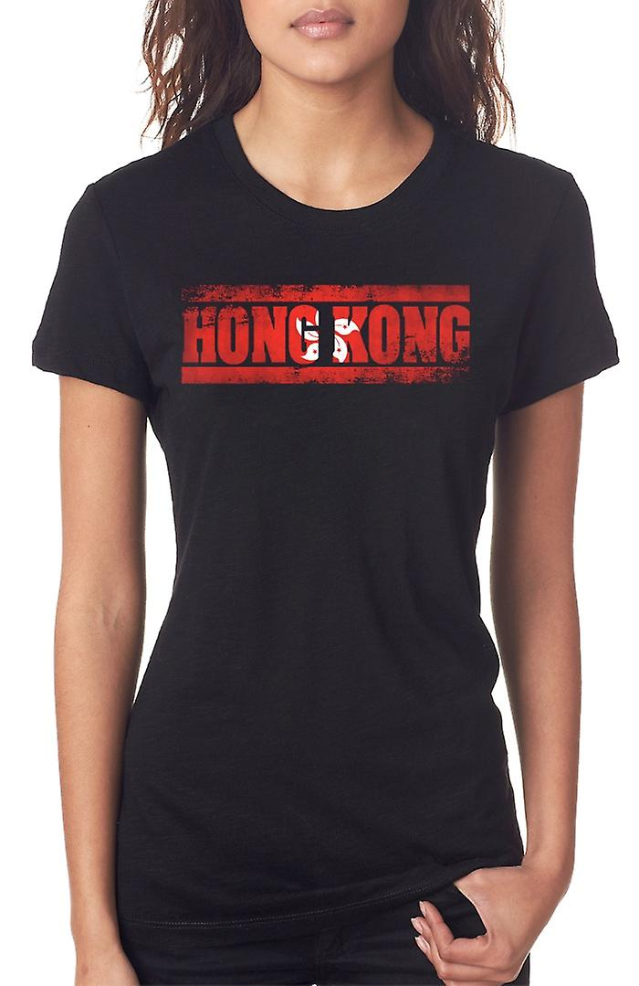 Hong Kong Flag - Words Ladies T Shirt