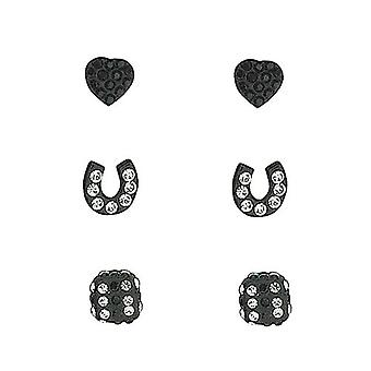 TOC Sterling Silver Rhinestone Set Heart, Horseshoe & Dice Black Studs- 3 Pairs
