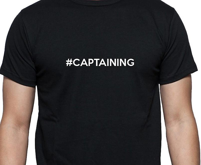 #Captaining Hashag Captaining Black Hand Printed T shirt