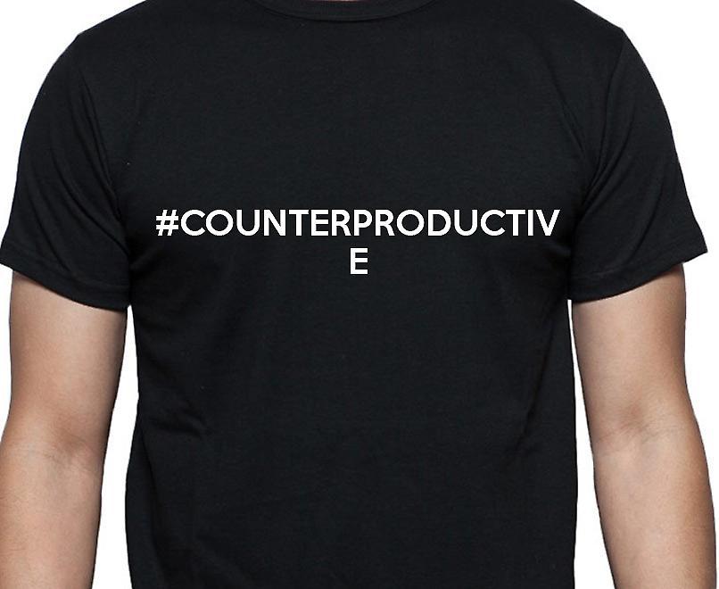 #Counterproductive Hashag Counterproductive Black Hand Printed T shirt