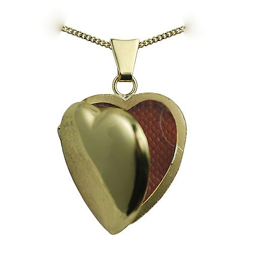18ct Gold 21x19mm plain heart shaped Locket with a curb Chain 16 inches Only Suitable for Children