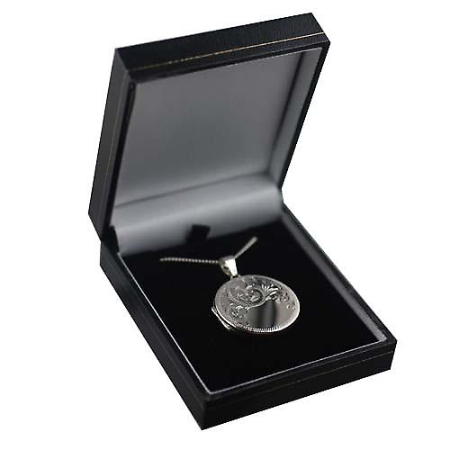 Silver 29mm half hand engraved flat round Locket with a curb Chain 24 inches