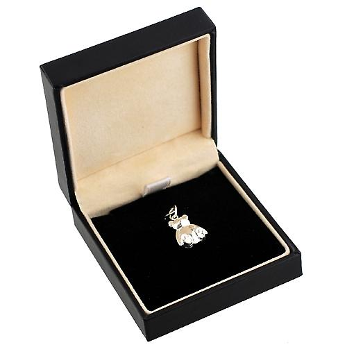 Silver 14x11mm solid Teddy bear charm