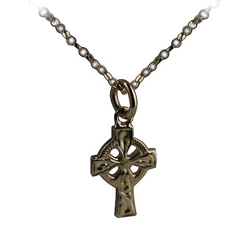 9ct Gold 16x10mm hand engraved Celtic Cross with Rolo chain