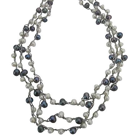 Bridesmaid White Grey Freshwater Pearls Double / Three Strand Necklace