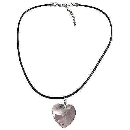 Rose Crystals Heart Pendant Black Chord Necklace 28mm Swarovski Pink
