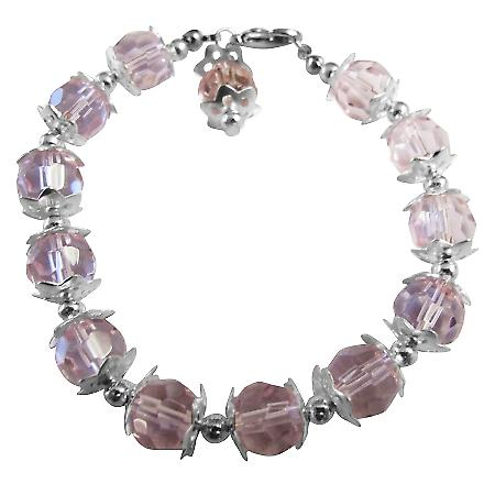 Beautiful Pink Crystals Bracelet with Dangling Bead Classy Bracelet