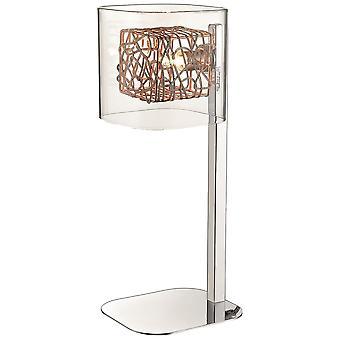 Spring Lighting - Nottingham Chrome, Copper And Glass Table Lamp  IPMM034DQ1UBCM