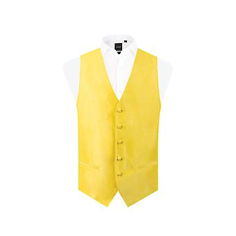 Dobell Mens Yellow Waistcoat Regular Fit Dupion 5 Button