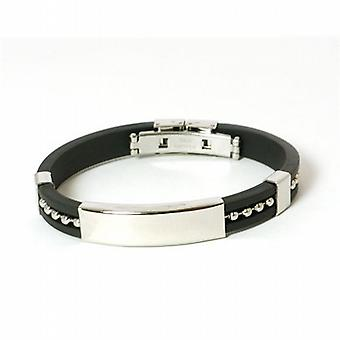 The Olivia Collection Gents Rubber and Stainless Steel Bead Design 8