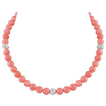 Eternal Collection Debutante Coral Pink Semi Precious Beaded Silver Tone Necklace