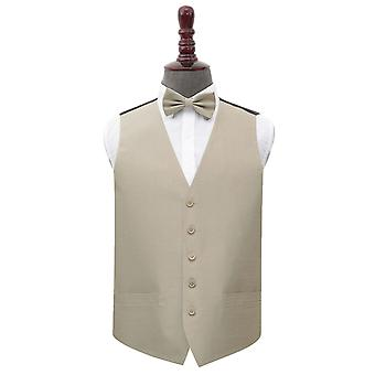 Taupe shantung Wedding vest & bow tie sett
