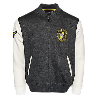Licensed harry potter™ unisex hufflepuff™ applique embroidery baseball jacket