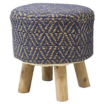 Wellindal Puff nordico wood legs jute azul (Furniture , Sofas , Puffs and footrest)