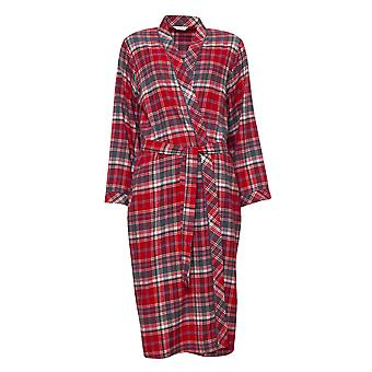 Cyberjammies 4257 Women's Belle Red Mix Check Cotton Long Robe