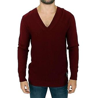 Karl Lagerfeld Bordeaux V-Neck Pullover Sweater -- SIG1321733