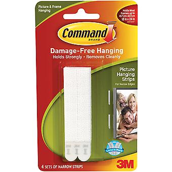 White 4 Sets Pkg Command Narrow Picture Hanging Strips 3M 17207 17207