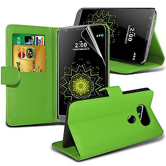 i-Tronixs LG G5 PU Leather Wallet Classic Flip Case + Screen Protector Guard -Green