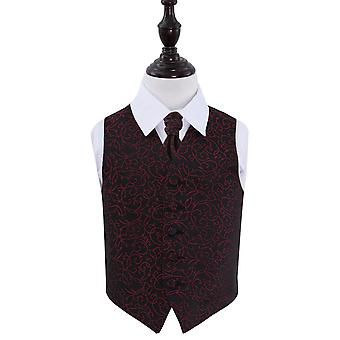 Boy's Black & Burgundy Swirl Patterned Wedding Waistcoat & Cravat Set