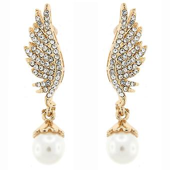 Gold  and  Crystal and White Pearl Angel Wing Drop Earrings