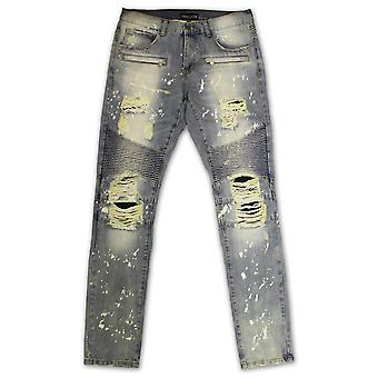 Embellish Maverick Splatter Biker Denim Jeans Stone Wash Bleach Blue