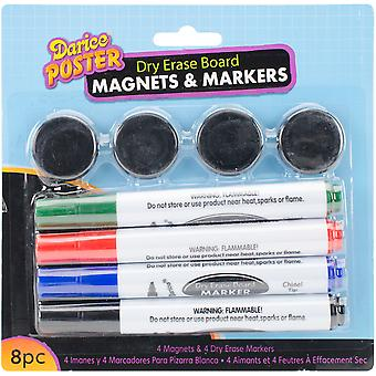 Dry-Erase Marker & Magnet Set 8pcs-Assorted 2100-68