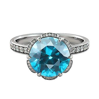 2,00 Ctw Aquamarin Ring mit Diamanten 14K White Gold Blume Vintage Halo