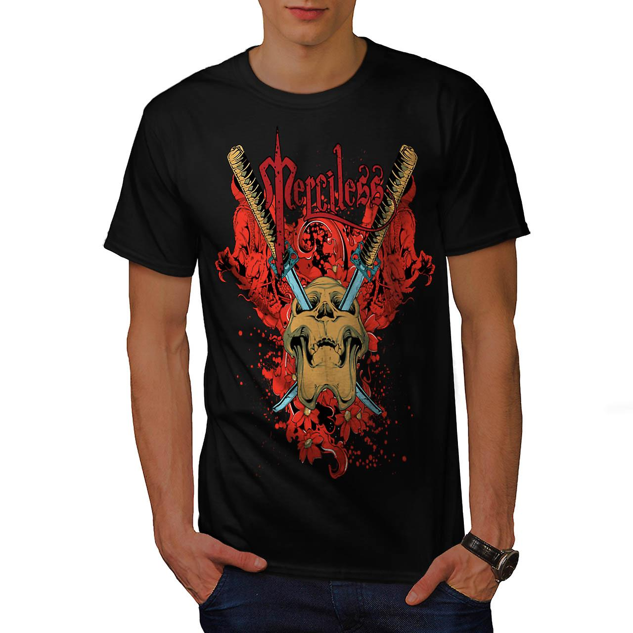 No Mercy Killer Head Dead Skull Men Black T-shirt | Wellcoda
