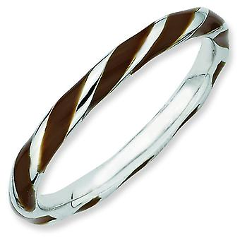 Sterling Silver Twisted Brown Enameled 2.4 x 2.0mm Stackable Ring - Ring Size: 5 to 10