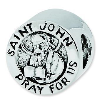 Sterling Silver Polished Antique finish Reflections Saint John Pray For Us Bead Charm