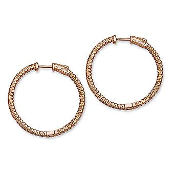 Sterling Silver Pink Plated With CZ Round Hoop Earrings