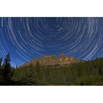 Circumpolar stars trails over Castle Mountain in Banff National Park Canada Poster Print