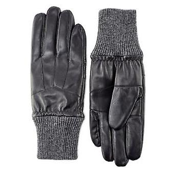 Pittards Men's Black Knit Cuff Leather Gloves