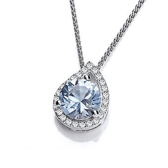 Cavendish French Silver and Aqua Cubic Zirconia Teardrop Twist Pendant