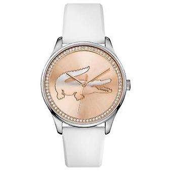 Lacoste Womans white silicone strap rose gold stone set dial 2000969 Watch
