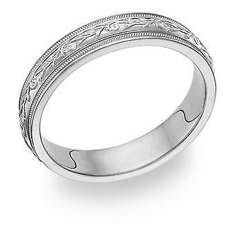 Udskårne Paisley hvid guld vielsesring Ring
