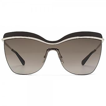 Marc Jacobs Enamel Brow Visor Sunglasses In Gold Brown
