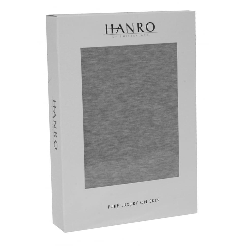 Hanro Sporty Stripe V-Neck Short-Sleeve T-Shirt, Middle Grey Melange
