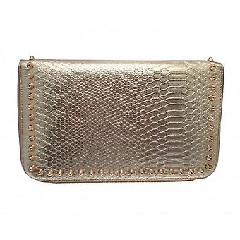 W.A.T Metallic Gold Faux Snake Skin Spiked Stud Clutch Bag