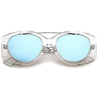 Futuristische transluzente Draht Metallarmen Crossbar gespiegelt flache Linse Oversize-Sonnenbrille 53mm