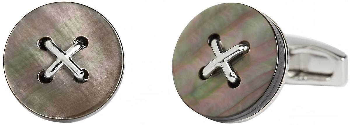 Simon Carter Saville Row Mother of Pearl Button Cufflinks - Grey