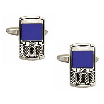 Zennor Phone Cufflinks - Silver/Blue