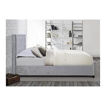 Birlea 120cm Small Double Hannover Fabric Bed In Steel Crushed Velvet