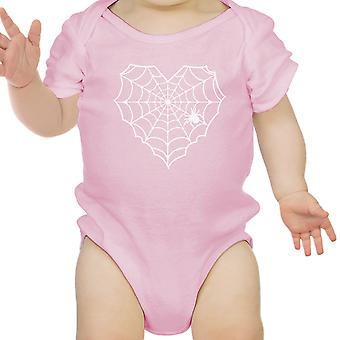 Coeur Spider Web bébé Halloween Body rose coton Infant Bodysuit