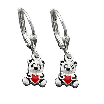 Silver earrings PANDA Panda bear with heart Brisur children's jewellery Silver 925