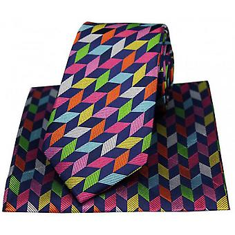 Posh and Dandy Geometric Squares Luxury Silk Tie and Handkerchief Set - Navy/Multi-colour