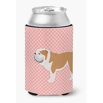 English Bulldog Checkerboard Pink Can or Bottle Hugger